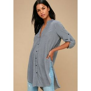 NWT Lulu's Best I Ever Plaid Gingham Tunic Top